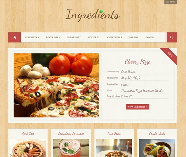 ingredients   recettes de cuisine wordpress