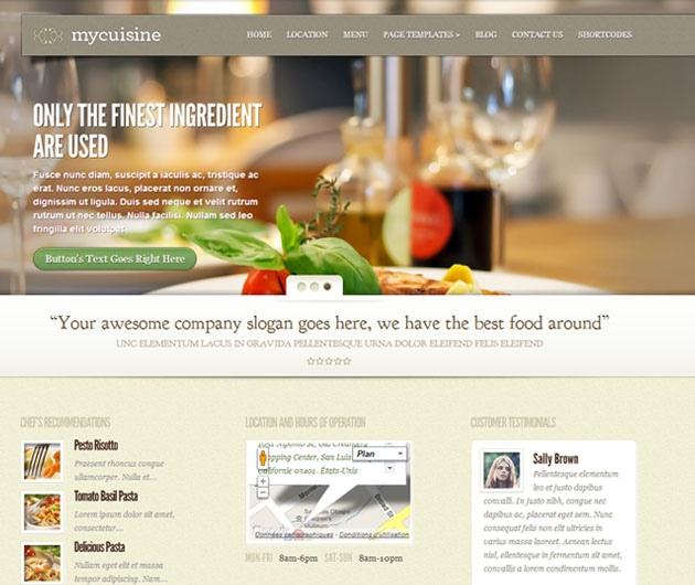 mycuisine  u2013 th u00e8me pour un restaurant avec wordpress